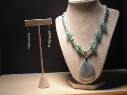 S2-016/CHRYSOCOLLA PENDANT NECKLACE WITH MATCHING EARRINGS