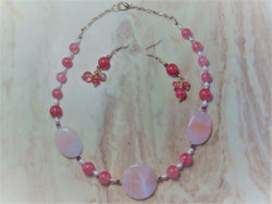 S2-022/OVAL ROSE QUARTZ PENDANTS WITH DARK ROSE COLORED GLASS BEADS WITH MATCHING EARRINGS