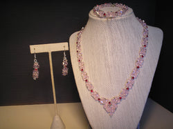 S3-002/PINK AND RED CRYSTAL NECKLACE WITH MATCHING BRACELET/EARRINGS