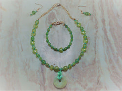S3-009/Lime Green Pendant with matching bracelet/earrings