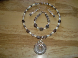 S3-011/Riverstone pendant/pearl necklace with matching bracelet/earrings