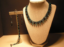 S3-019/AQUAMARINE/BLACK CRYSTAL NECKLACE WITH MATCHING EARRINGS/BRACELET