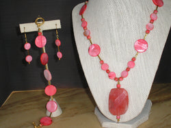 S3-020/ROSE QUARTZ PENDANT WITH PINK MOTHER-OF-PEARL NECKLACE,EARRINGS/BRACELET