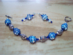 B2-002/BLUE GLASS WIRE WRAPPED BEADED BRACELET/EARRINGS