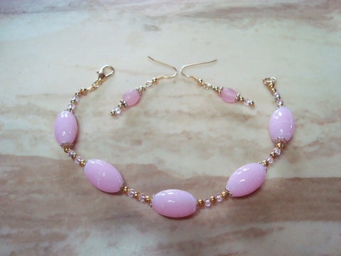 B2-005/PRETTY IN PINK BRACELET/EARRING SET