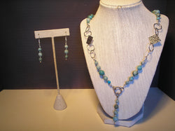 S2-019/Turquoise and silver necklace with earrings