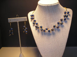 S2-026/BLUE GLAZED PEARL NECKLACE WITH MATCHING EARRINGS