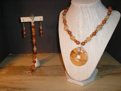 S3-014/Yellow Jasper Doughnut Pendant Necklace with Matching Bracelet/Earrings.