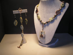 S3-015/TREE AGATE PENDANT NECKLACE WITH MATCHING BRACELET/EARRINGS
