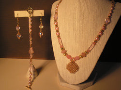 S3-016/PINK CRYSTAL PENDANT NECKLACE WITH MATCHING BRACELET/EARRINGS