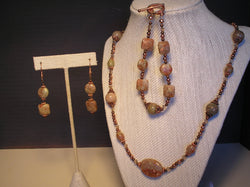 S3-018/LEPIDOLITE, CRYSTAL & COPPER NECKLACE WITH MATCHING BRACELET/EARRINGS
