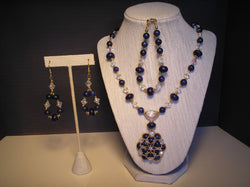 S3-021/Lapis and Crystal Pendant Necklace with matching Bracelet/Earrings