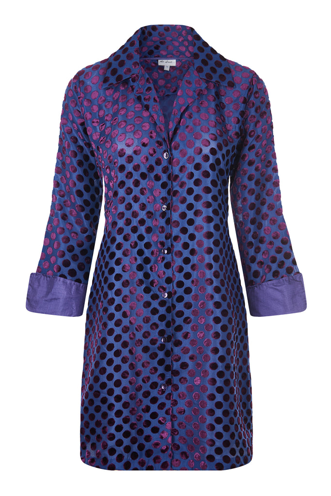 Amanda Silk Velvet Shirt - Purple Spot