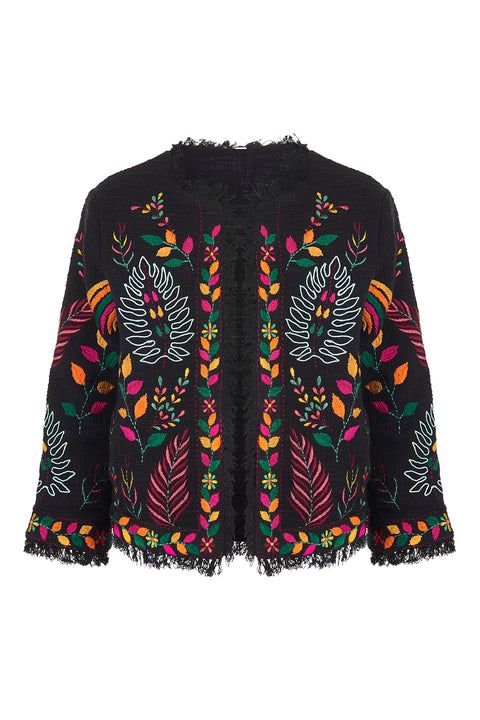 Cotton Embroidered Jacket - Black