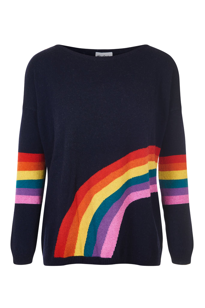 Cashmere and Wool Rainbow Jumper - Navy