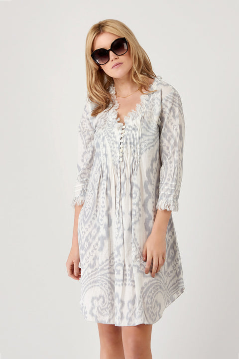 Annabel Cotton Tunic - Grey Ikat