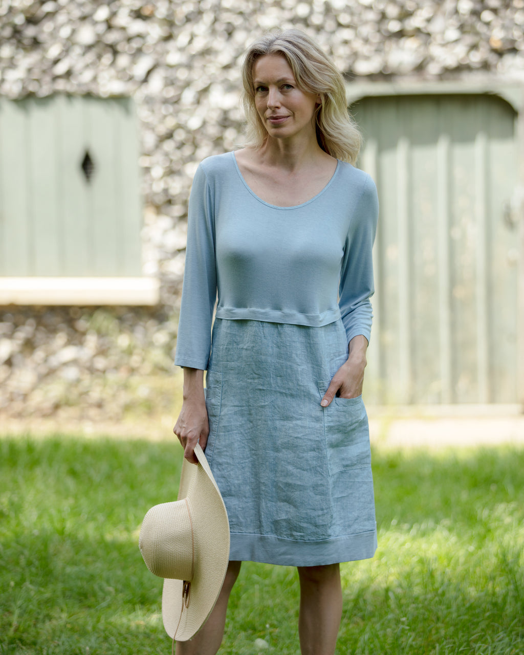 Blue Cotton Linen Mix Dress by 'Latte'