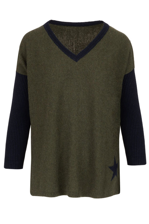 Cashmere Sweater- Olive and Navy Star
