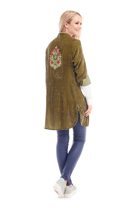 Louise Silk Velvet Shirt with back tattoo - Gold