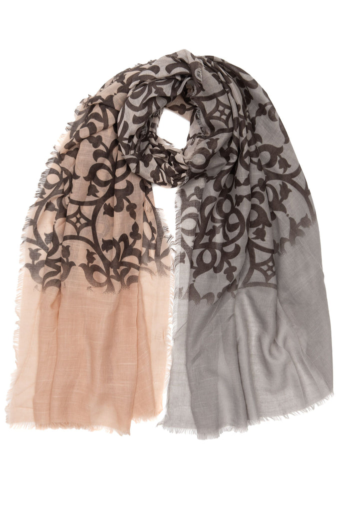 Blush and Grey Patterned Scarf