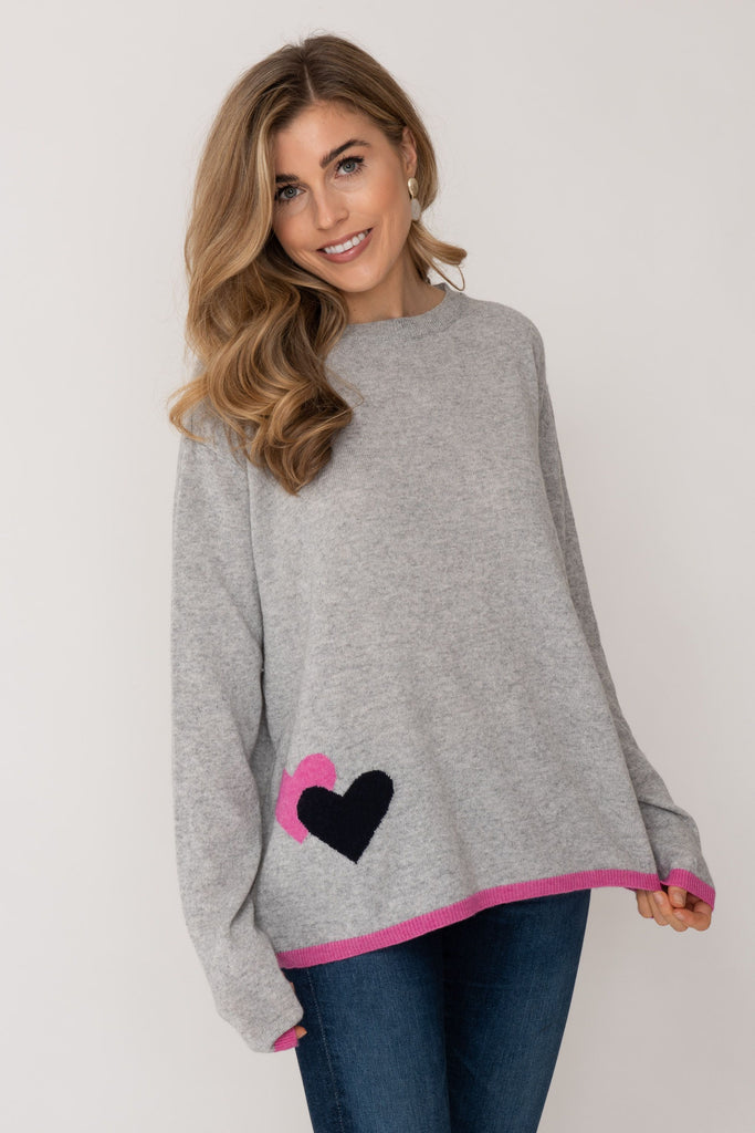 Cashmere Sweater- Pink and Grey Heart