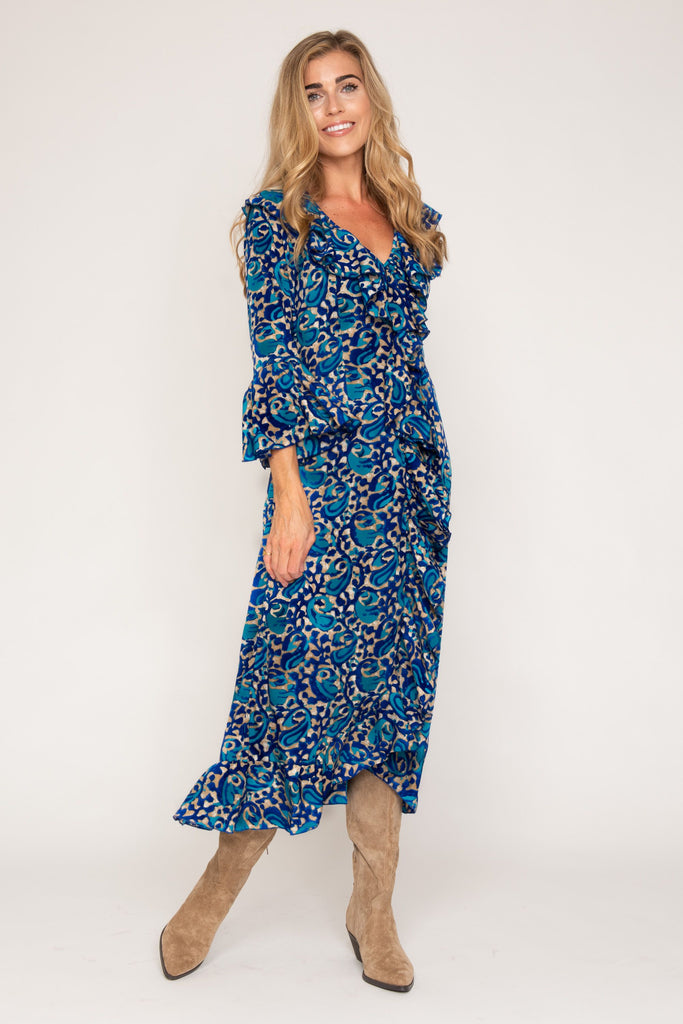 Felicity Dress - Royal Blue and Turquoise Swirl