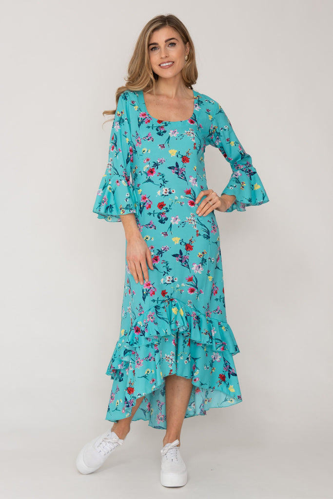 Victoria Dress Turquoise Flower