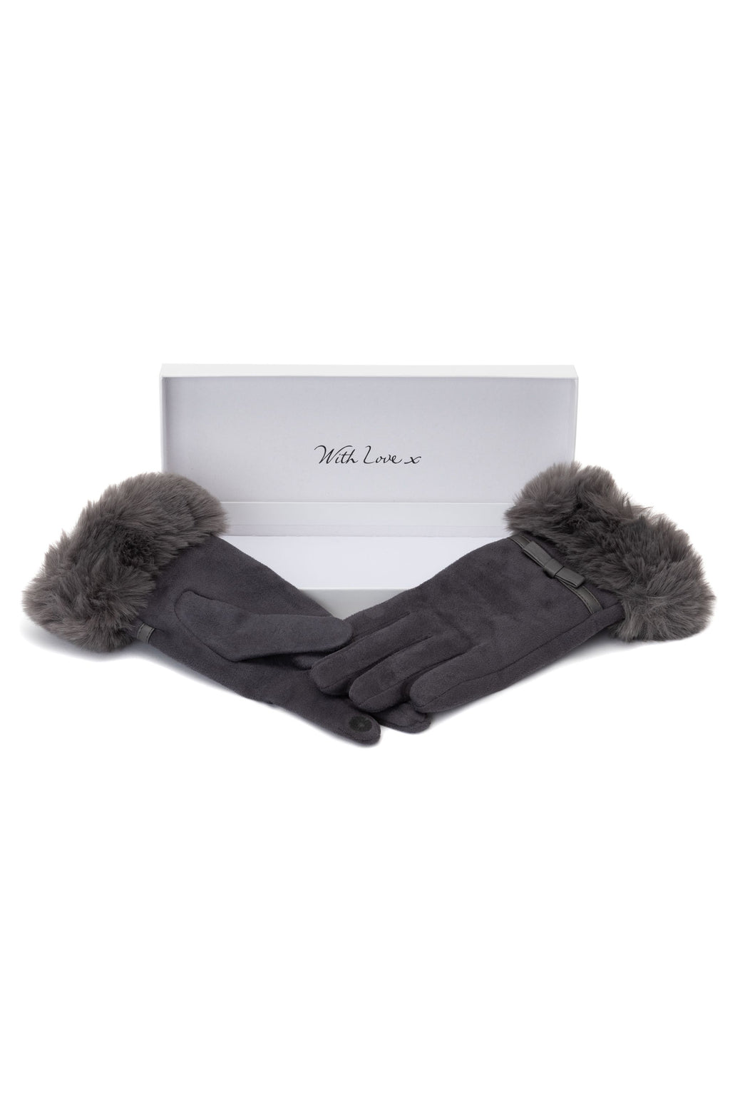 Grey Faux Fur Bow Glove by Envy