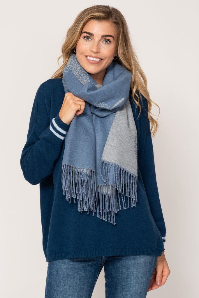 Large Reversible Scarf- Blue