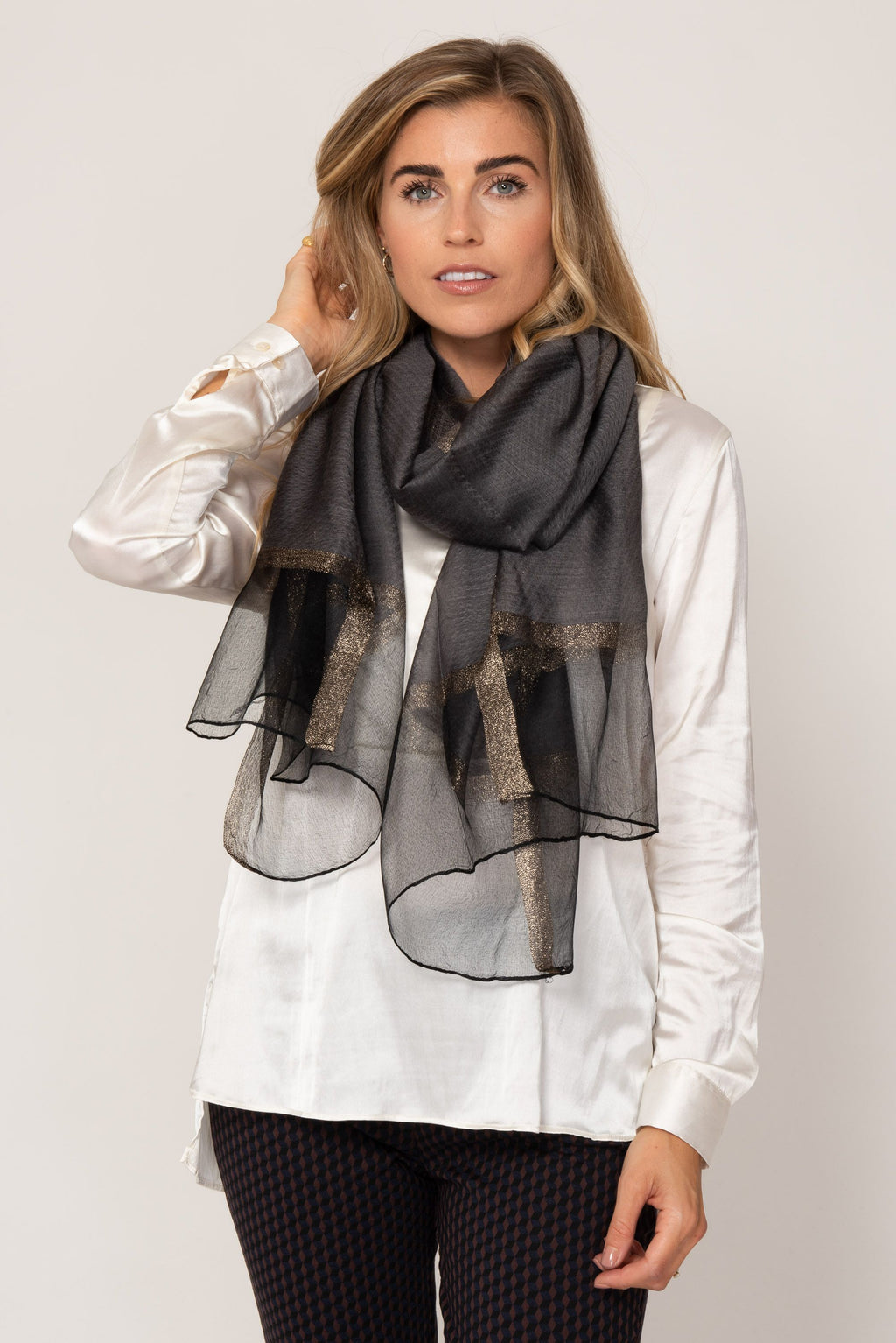 Grey and Gold Sparkle Silk Scarf