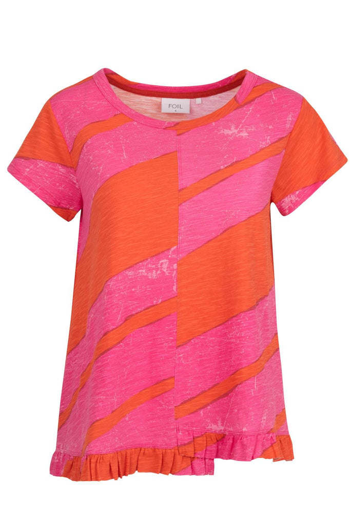 Cotton T- Shirt by 'Foil' in Pink & Coral