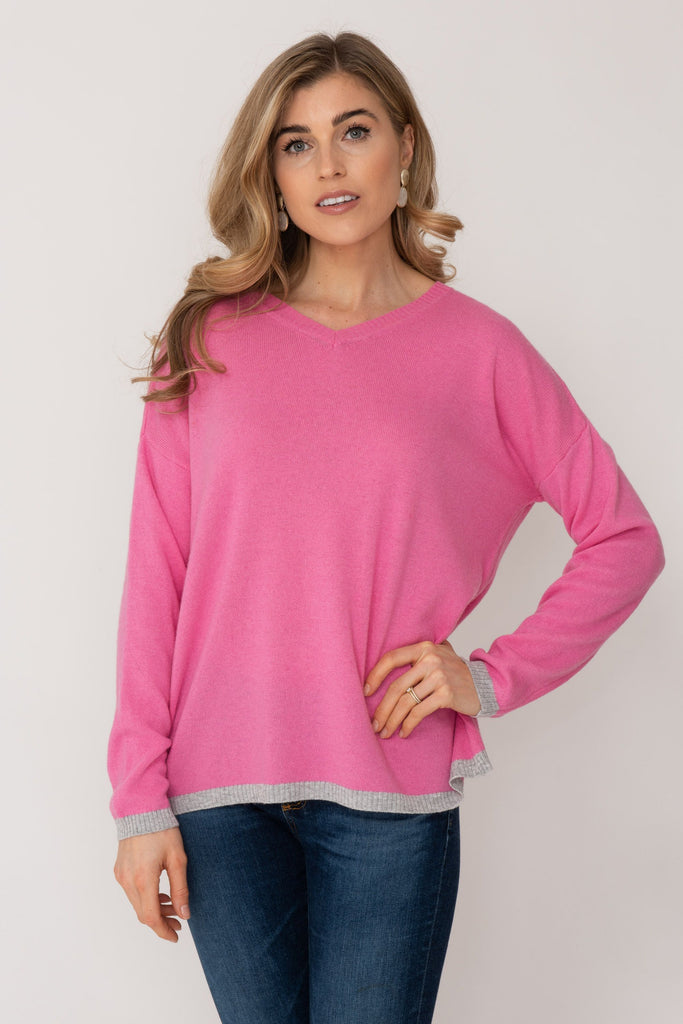 V-neck Cashmere Sweater Bubblegum Pink with Grey Trim