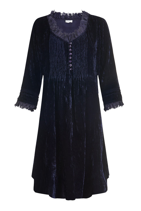 Annabel Frill Silk Velvet Long Tunic \ Dress - Navy