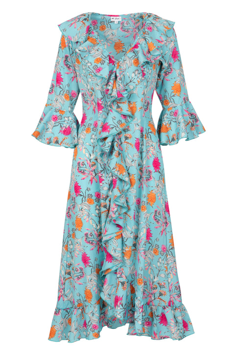 Felicity Dress - Tiffany Blue Floral AH47