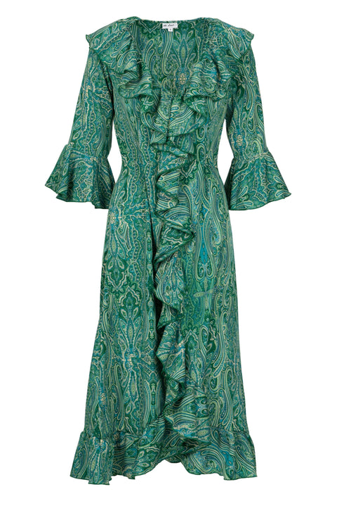 Felicity Dress - Green Paisley AH42