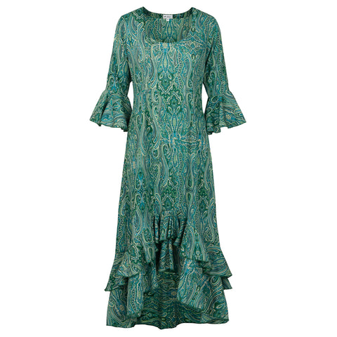 Victoria Dress- Green Paisley AH42