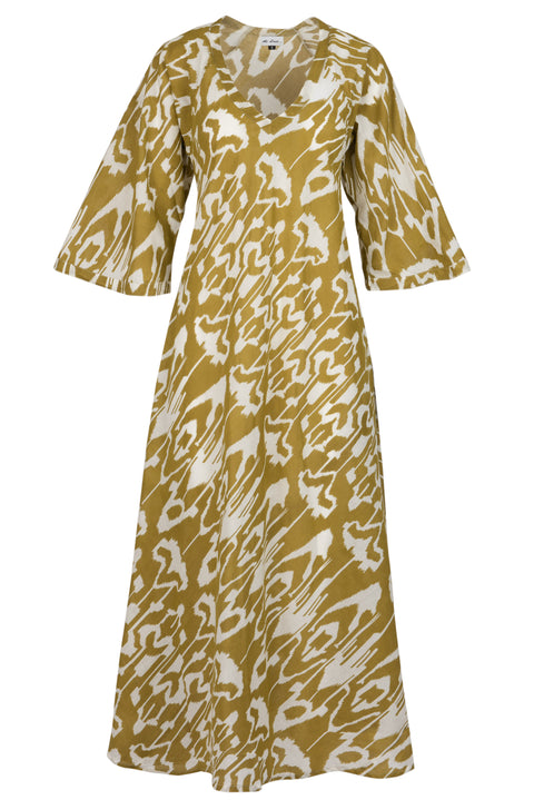 Anna Cotton Dress- Olive Ikat