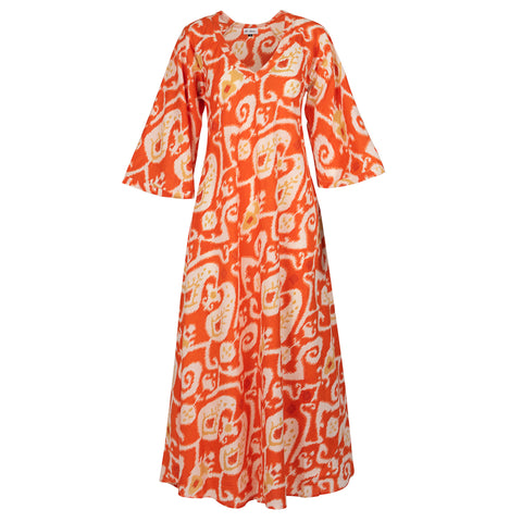 Anna Cotton Dress- Orange Ikat