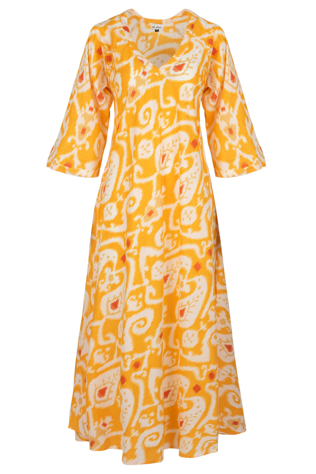Anna Cotton Dress- Yellow Ikat