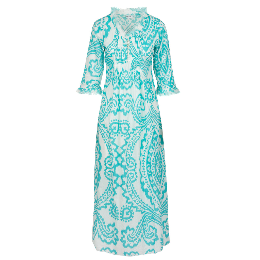 Annabel Maxi Dress - Aqua and White