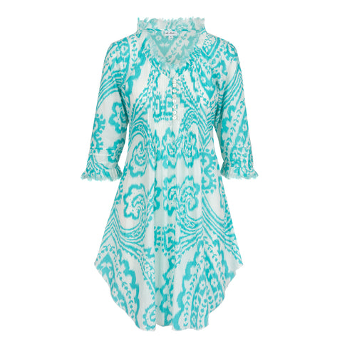 Annabel Cotton Tunic- Aqua and White