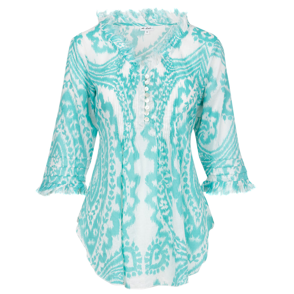Sophie Cotton Shirt- White and aqua