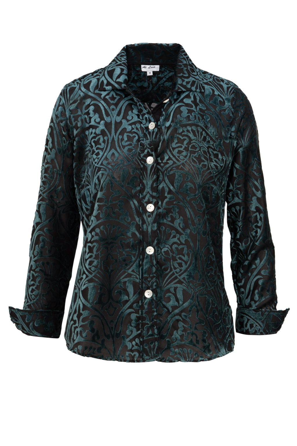 Karen Silk Velvet Shirt - Teal Flower