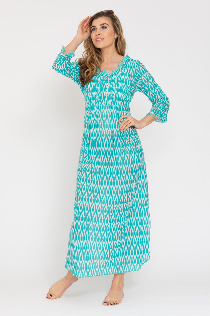 Annabel Maxi Dress - Aqua Ikat 2019-124