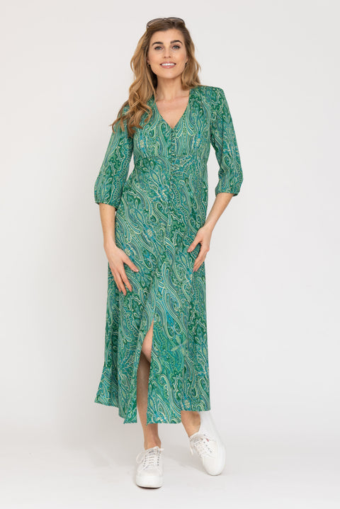 Belgravia Dress - Green Paisley
