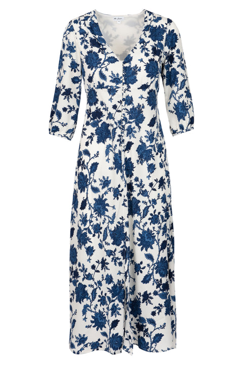 (COMING SOON) Belgravia Dress - White and Blue Flower AH45