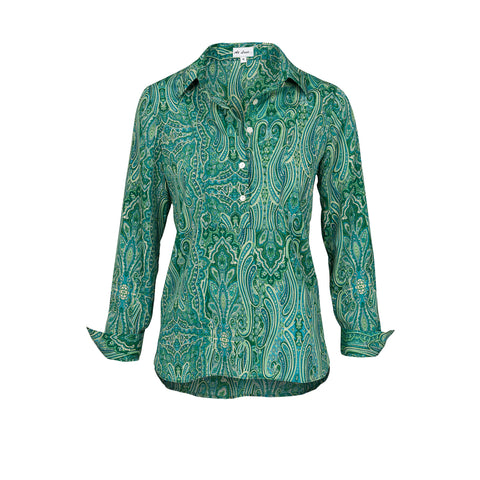 Soho Shirt with Back Detail - Green Paisley AH42
