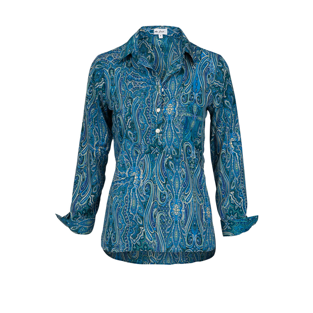 Soho Shirt with Back Detail - Blue Paisley AH41