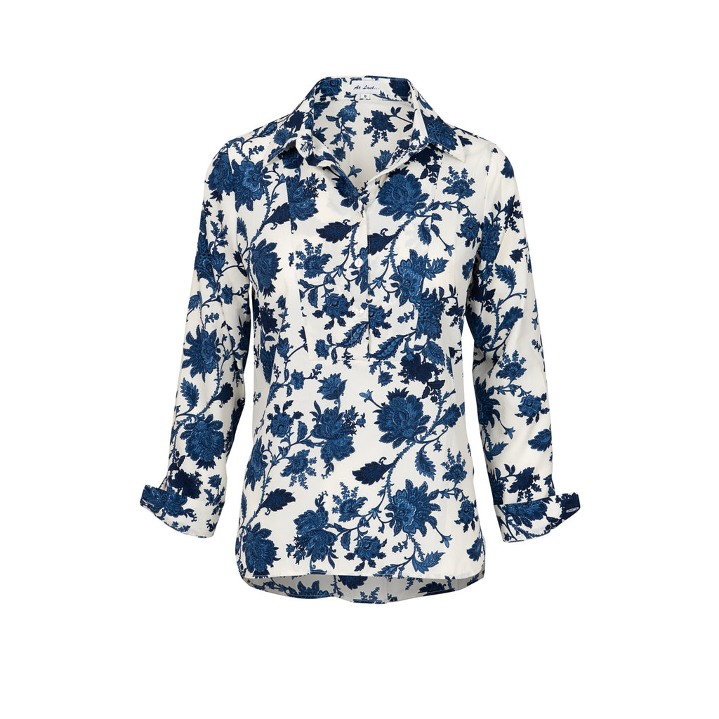 Soho Shirt with Back Detail - White and Blue Flower AH45