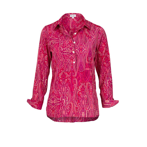Soho Shirt with Back Detail - Pink Paisley AH45